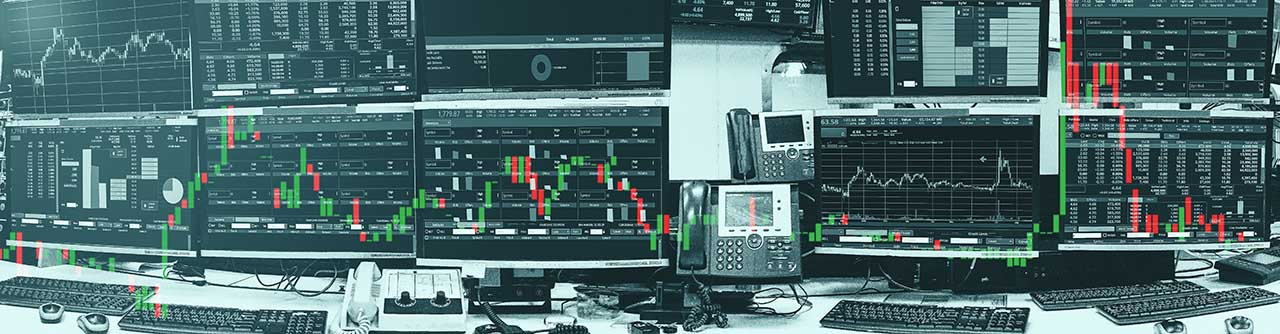 Display of Stock market quotes and chart in monitor computer roo